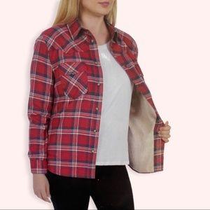 Nwt Jachs Girlfriend PLaid flannel Hot pink shirt